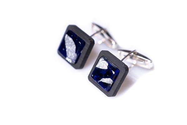 Gemelli - GAB0605 - Gemelli Ebano argento vetro blu foglia argento 925 1