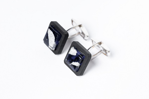 limpero Gemelli - GAB0605 - Gemelli Ebano argento vetro blu foglia argento 925 1-1