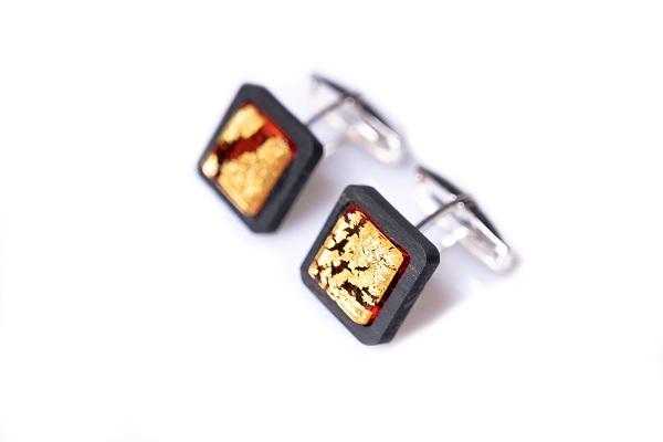 Gemelli - GOR0603 - Gemelli Ebano argento vetro rosso con foglia oro 24kt 1