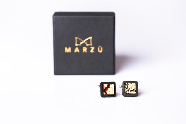 Gemelli - GOR0603 - Gemelli Ebano argento vetro rosso con foglia oro 24kt 1-1