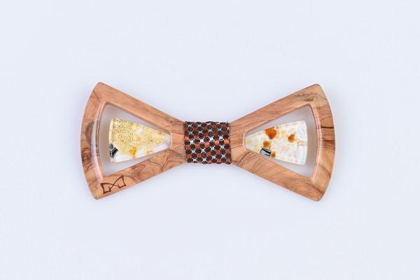 Limpero Gioiello - LGM0511 - Ulivo + seta marrone + vetro avorio foglia oro 24kt 2