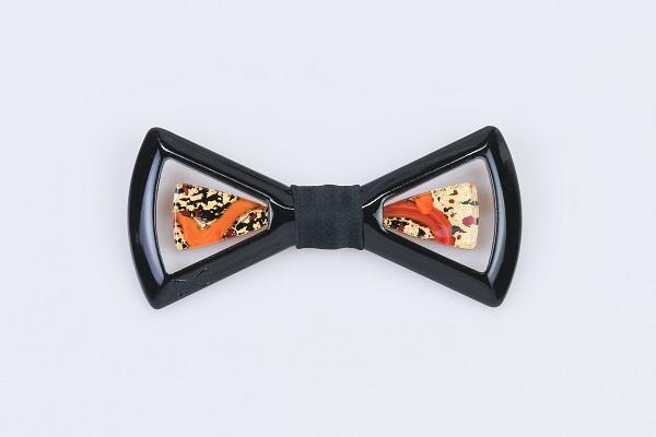 Limpero Gioiello - LGN0504 - Ebano + seta nera + vetro nero e piuma rossa foglia oro 24kt 2